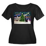 Xmas Magic & Black Lab Women's Plus Size Scoop Nec