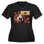 Santa's 2 Black Labs Women's Plus Size V-Neck Dark