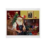 Santa's 2 Black Labs Throw Blanket