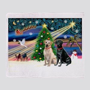 Xmas Magic/2 Labs (Y+B) Throw Blanket