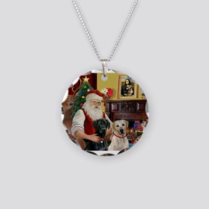 Santa's 2 Labs (Y+B) Necklace Circle Charm