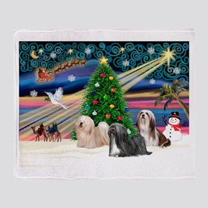 XmasMagic/3 Lhasas Throw Blanket
