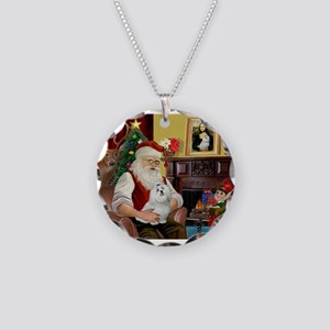 Santa's Maltese Necklace Circle Charm
