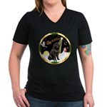 Night Flight/Newfie #2 Women's V-Neck Dark T-Shirt