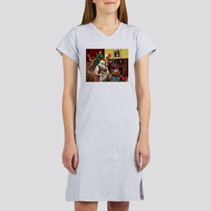 Santa/Norwegian Elkhound Women's Nightshirt