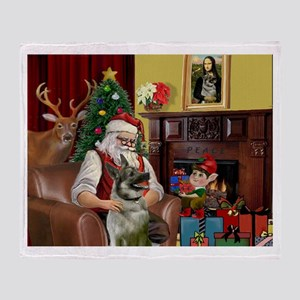 Santa/Norwegian Elkhound Throw Blanket