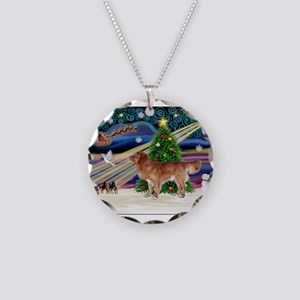XmasStar/Nova Scotia dog Necklace Circle Charm