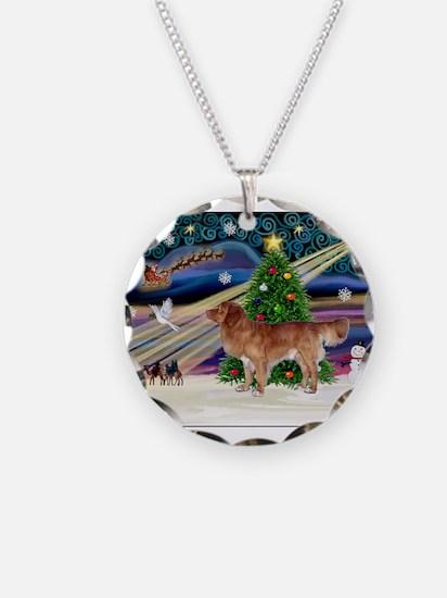 XmasStar/Nova Scotia dog Necklace Circle Charm
