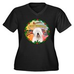 XmasMusic 3/OES #3 Women's Plus Size V-Neck Dark T