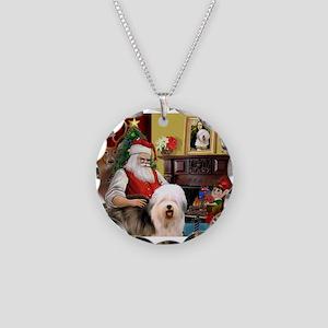 Santa's Old English #5 Necklace Circle Charm