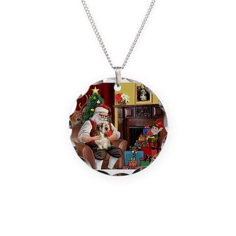 Santa's Petit Basset Necklace Circle Charm