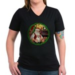 Santa's Pomeranian #1 Women's V-Neck Dark T-Shirt