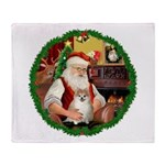 Santa's Pomeranian #1 Throw Blanket