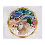 XmasMagic/2 Pomeranians Throw Blanket