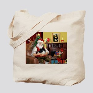 Santa's Pomeranian (bw) Tote Bag