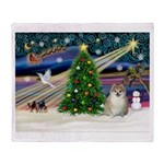 Christmas Magic & Pomeranian Throw Blanket