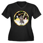 Night Flight/Silver Poodle Women's Plus Size V-Nec