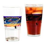 XmasSunrise/2 Poodles Drinking Glass