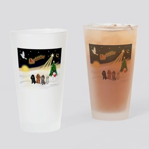 Night Flight/4 Poodles Drinking Glass