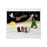 Night Flight/4 Poodles Throw Blanket
