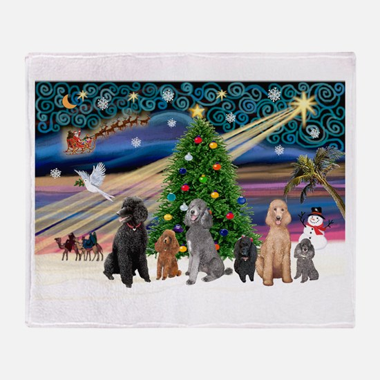 XmasMagic-6 Poodles Throw Blanket