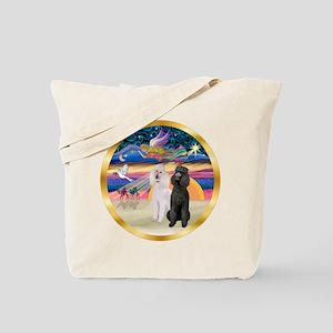 XmasMagic/2 Std Poodles Tote Bag