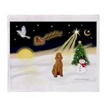 Night Flight/Std Poodle (blk) Throw Blanket
