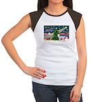 Xmas Magic & Poodle Women's Cap Sleeve T-Shirt