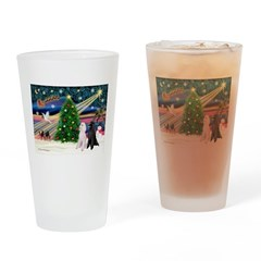 XmasMagic/2 Poodles (st) Drinking Glass