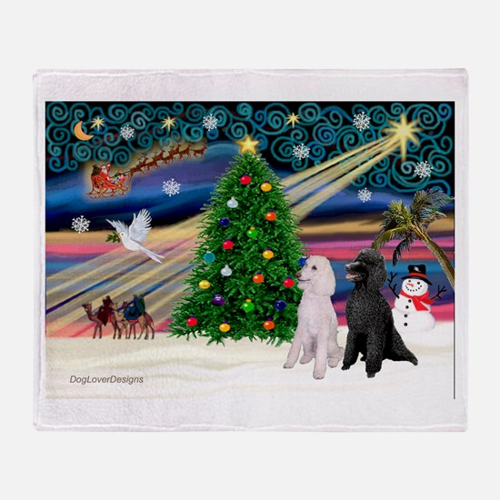 XmasMagic/2 Poodles (st) Throw Blanket