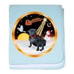 Night Flight/Pug (black) baby blanket