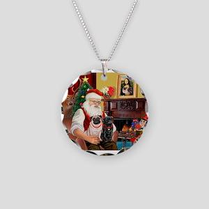 Santa's Two Pugs (P1) Necklace Circle Charm