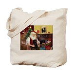 Santa's Black Pug Tote Bag