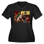 Santa's Rottweiler Women's Plus Size V-Neck Dark T
