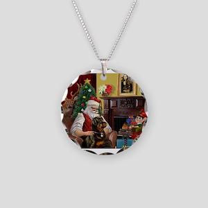 Santa's Rottweiler Necklace Circle Charm