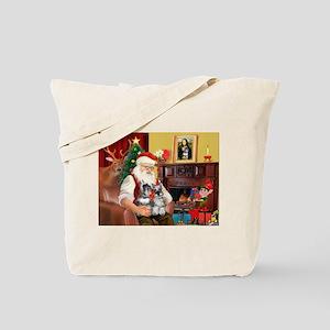 Santa's 2 Schnauzers Tote Bag