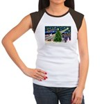 Xmas Magic & Schnauzer Puppy Women's Cap Sleeve T-