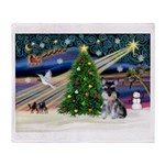 Xmas Magic & Schnauzer Puppy Throw Blanket