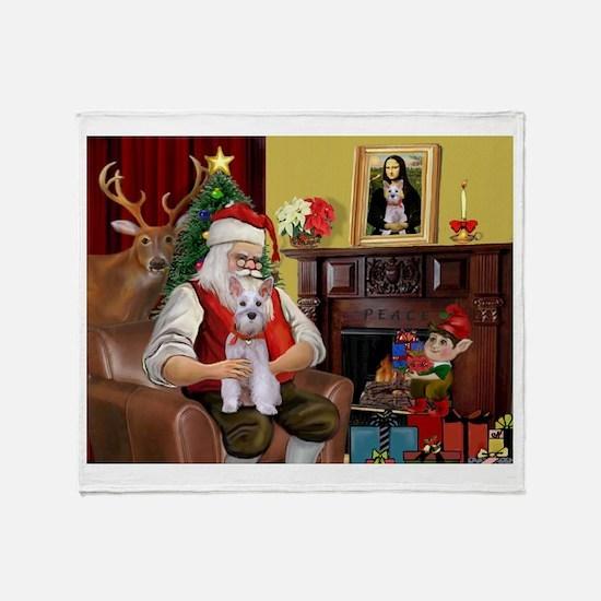 Santa's Schnauzer (9) Throw Blanket