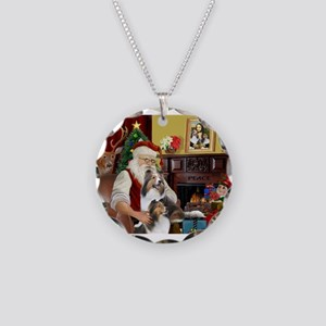 Santa / 2 Shelties (dl) Necklace Circle Charm
