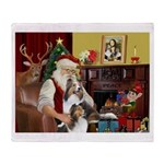 Santa / 2 Shelties (dl) Throw Blanket