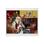 Santa / 2 Shelties (dl) Throw Blanket