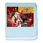 Santa / 2 Shelties (dl) baby blanket