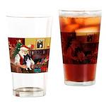 Santa's Bi Black Sheltie Drinking Glass