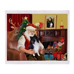 Santa's Bi Black Sheltie Throw Blanket