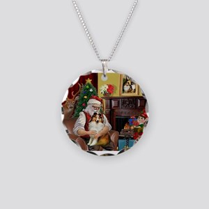 Santa's Sheltie (SW) Necklace Circle Charm