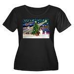 XmasMagic/Sheltie (7R) Women's Plus Size Scoop Nec