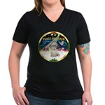 XmasSunrise/Shih Tzu Women's V-Neck Dark T-Shirt