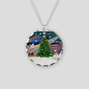 XmasMagic/Shih Tzu pup Necklace Circle Charm
