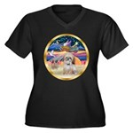 XmasStar/Shih Tzu Women's Plus Size V-Neck Dark T-